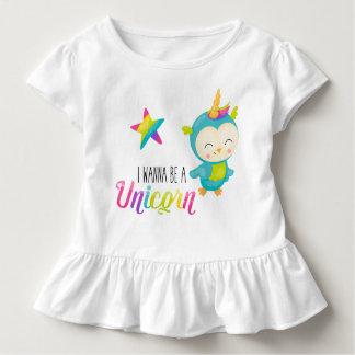 I Wanna Be a Unicorn (Bird) Ruffled Shirt トドラーTシャツ