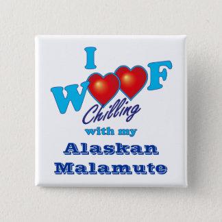 I Woofのアラスカンマラミュート 5.1cm 正方形バッジ
