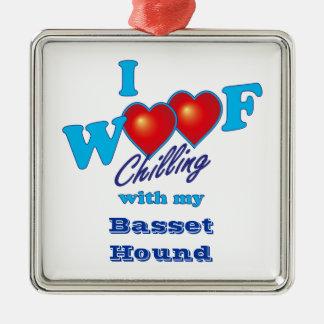I Woofのバセットハウンド メタルオーナメント