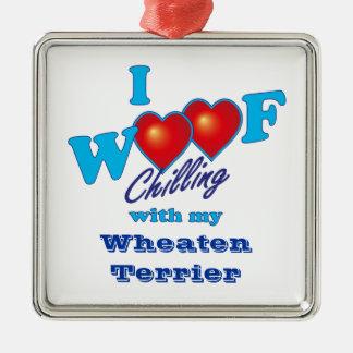 I WoofのWheatenテリア シルバーカラー正方形オーナメント