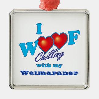 I Woof Weimaraner メタルオーナメント