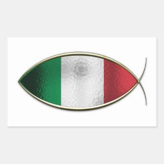 Ichthus -イタリアンな旗 長方形シール