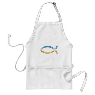 Ichthus -キリスト教の魚の記号の空及び地面 スタンダードエプロン