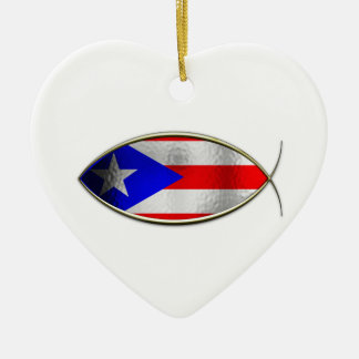 Ichthus -プエルトリコの旗 セラミックオーナメント