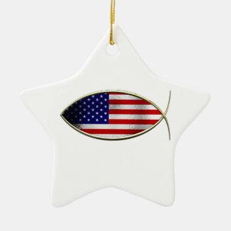 Ichthus -米国旗 セラミックオーナメント