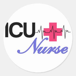 ICUのナース 丸形シール・ステッカー