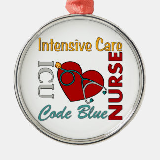 ICU -ナース シルバーカラー丸型オーナメント