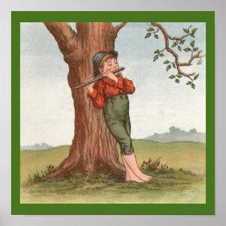 Ida Waugh 1892年(プリント)による少しフルートプレーヤー ポスター