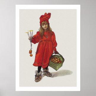Idunaとしてカールラーションの小さいスウェーデンの女の子Brita ポスター
