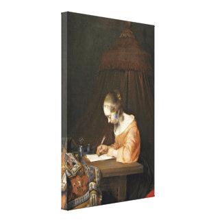 (ii) -手紙を書いている女性Gerardのter Borch キャンバスプリント