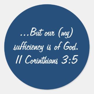 II Corinthiansの3:5のステッカー ラウンドシール