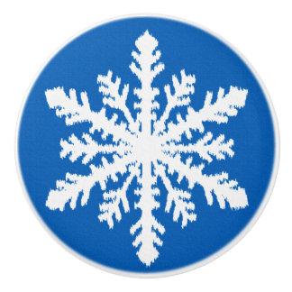 Ikatの雪片-コバルトブルーおよび白 セラミックノブ