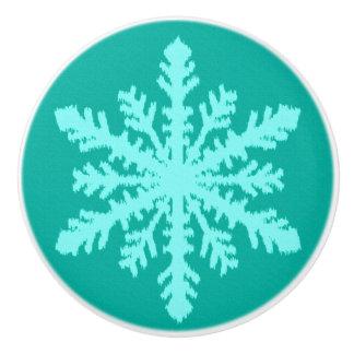 Ikatの雪片-ターコイズおよび水 セラミックノブ