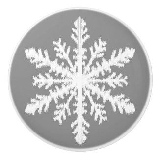 Ikatの雪片-チャコールグレーおよび白 セラミックノブ