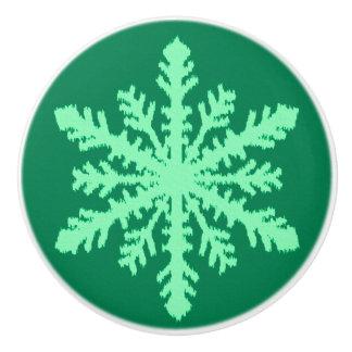 Ikatの雪片-マツおよびミントの緑 セラミックノブ