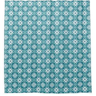 Ikat青いパターン シャワーカーテン