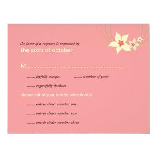 IkebanaのFrangipaniのピンクの熱帯花の結婚式 カード