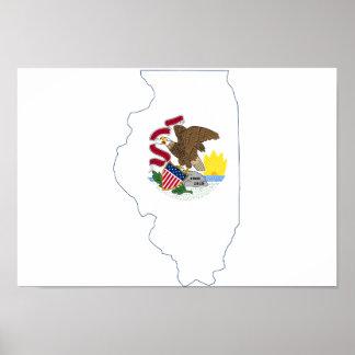 Illinoiseの州の旗および地図 ポスター