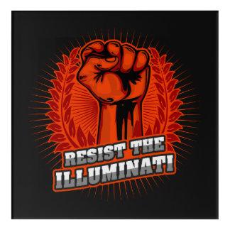 Illuminatiのオレンジによって上げられる握りこぶしに抵抗して下さい アクリルウォールアート