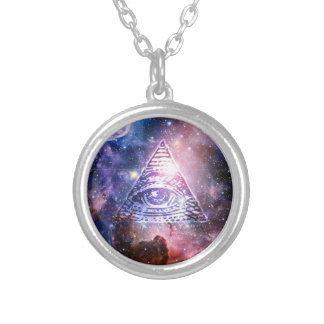Illuminatiの星雲 シルバープレートネックレス