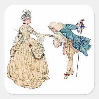 Illustrationビクトリアンな主および女性 スクエアシール