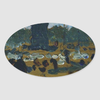 Ilya Repin著セント・ピーターズバーグの宮殿の正方形 楕円形シール