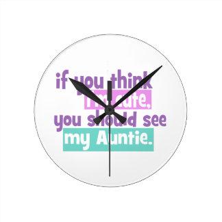 Imをかわいい考えれば-伯母さん ラウンド壁時計