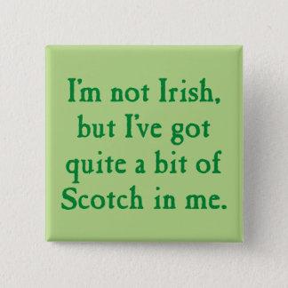 I'm Not Irish - Funny Scotch Whisky Pun - Green 5.1cm 正方形バッジ