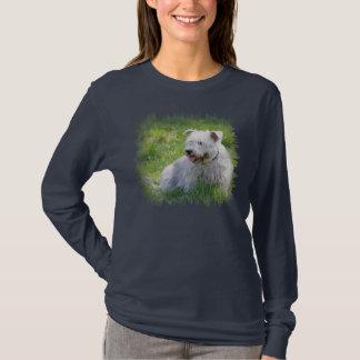 Imaalテリア犬の女性の長い袖のティーの谷間 Tシャツ
