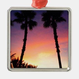 image.jpgのヤシの木の日没の太平洋沿岸カリフォルニア メタルオーナメント