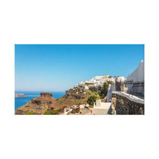 Imerovigli、SantoriniおよびSkarosの石 キャンバスプリント