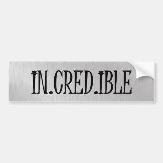 In.Cred.Ibleの単語のタイポグラフィ バンパーステッカー