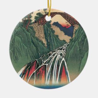 Inaの川、Hiroshige著Nojiri上の橋の眺め セラミックオーナメント