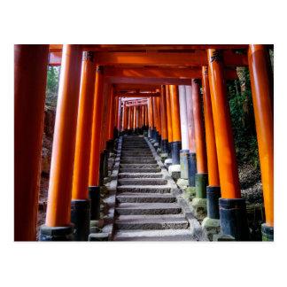 Inariの神社のTorii、京都-郵便はがき ポストカード