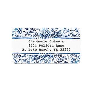 Indigo Blue Floral Return Address Label ラベル
