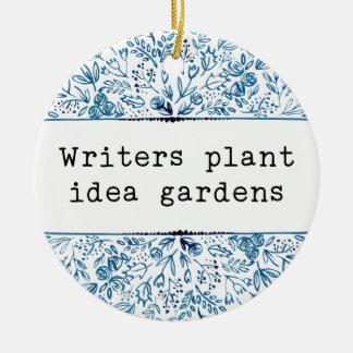 Indigo Blue Floral | Writers Plant Idea Gardens セラミックオーナメント
