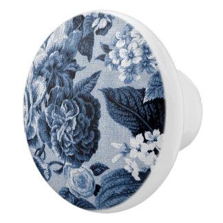Indigo Blue Vintage Floral Toile No.1 セラミックノブ