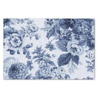 Indigo Blue Vintage Floral Toile No.3B 薄葉紙