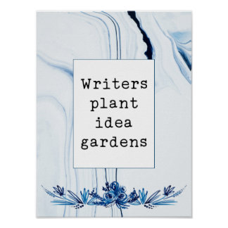 Indigo Painted Marble | Writers Plant Idea Gardens ポスター