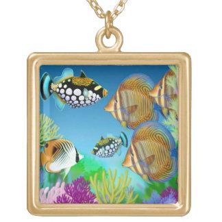 Indoの太平洋の珊瑚礁の魚のネックレス ゴールドプレートネックレス
