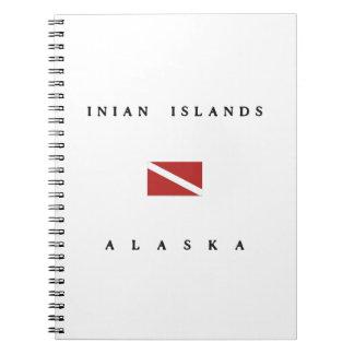 Inianの島のアラスカのスキューバ飛び込みの旗 ノートブック