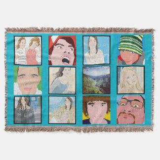 InstagramのモザイクLt Blue Customizedのブランケット 毛布