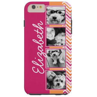 Instagramの写真のコラージュのショッキングピンクのオレンジのシェブロン シェル iPhone 6 ケース