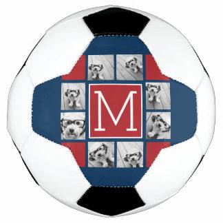Instagramの写真のコラージュのモノグラム-赤い海軍 サッカーボール