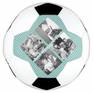 Instagramの写真のコラージュ4つの写真-青い縞 サッカーボール