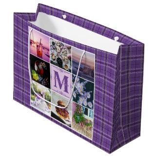 Instagramの写真の格子紫色の格子縞の春Hygge ラージペーパーバッグ