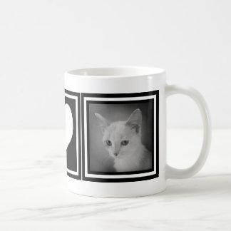 Instagramの2写真のはっきりしたな白黒ハート コーヒーマグカップ