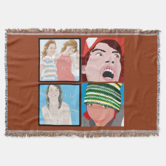 Instagramの4写真のカスタマイズ可能なブランケット 毛布