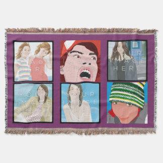 Instagramの6写真のすみれ色のカスタムなブランケット 毛布