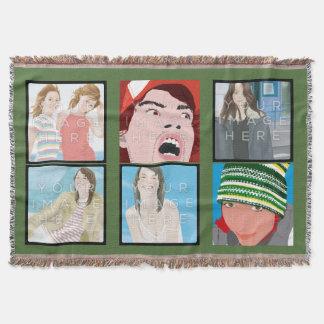 Instagramの6写真の緑のカスタムのブランケット 毛布
